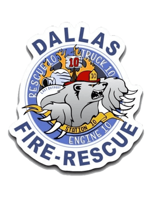 "Dallas Fire Station 10 Small Decal (roughly 2.75"" x 3"") 3"" Station 10 Polar Bear Logo"