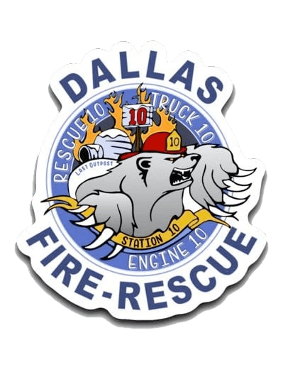 Dallas Fire Station 10 Small Decal (roughly 2.75