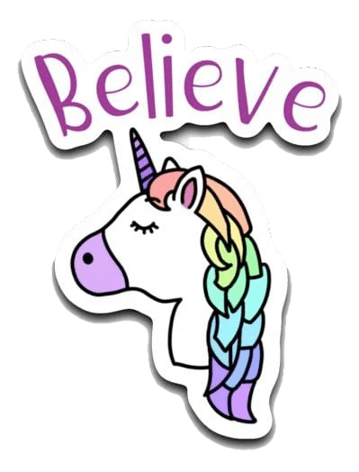 "Unicorn Believe Decal (roughly 2.75""x3.25"") Believe Decal"