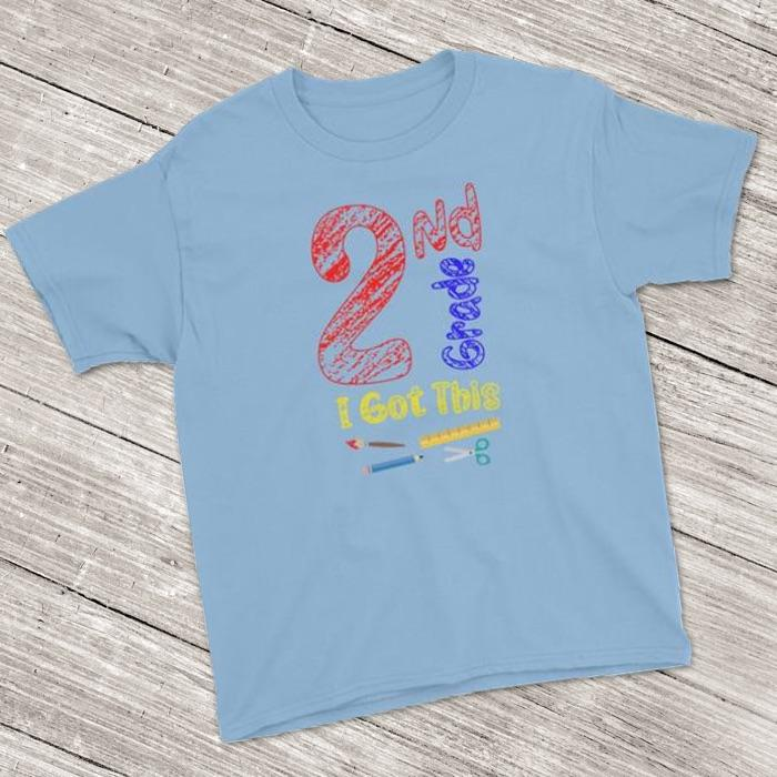 2nd Grade Shirt ~ Short Sleeve T-Shirt for Back To School  (Youth Size) Light Blue / XS