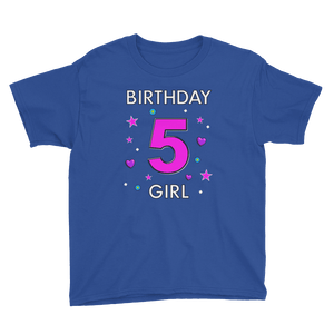 5th Birthday Shirt ~ Short Sleeve T-Shirt for Girls (Youth Size) Royal Blue / XS