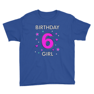 6th Birthday Shirt ~ Short Sleeve T-Shirt for Girls (Youth Size) Royal Blue / XS