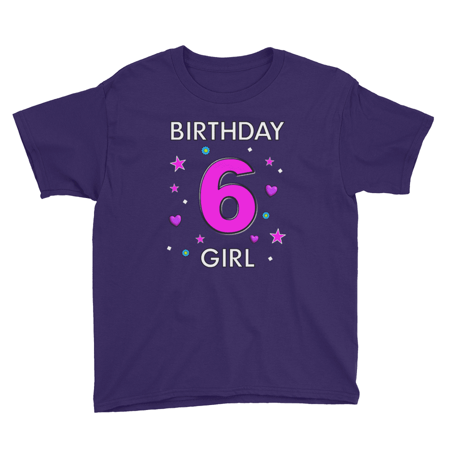 6th Birthday Shirt ~ Short Sleeve T-Shirt for Girls (Youth Size) Purple / XS