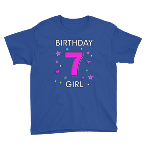 7th Birthday Shirt ~ Short Sleeve T-Shirt for Girls (Youth Size) Royal Blue / XS