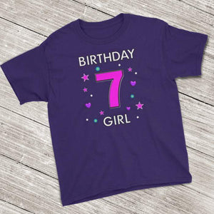 7th Birthday Shirt ~ Short Sleeve T-Shirt for Girls (Youth Size) Purple / XS