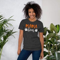 Mama Bear Shirt for Women / Dark Grey Heather on model