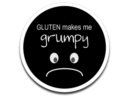 "Gluten Makes Me Grumpy Decal (roughly 2.75""x2.75"")"