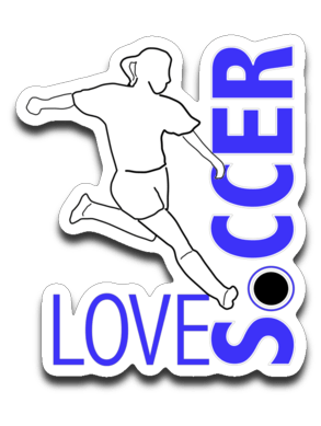 "Love Soccer Decal (roughly 2.75""x3.625"")"