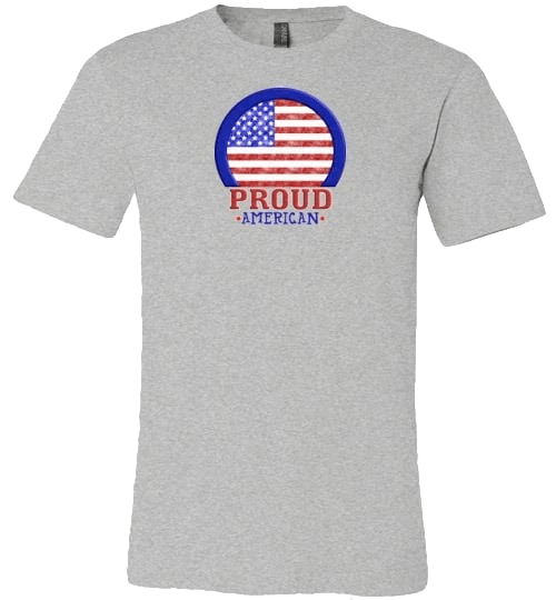 Proud American Shirt ~ Short-Sleeve (Adult & Youth) Athletic Heather / XS