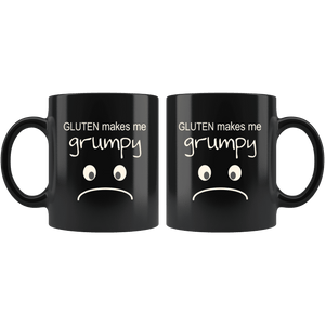 Gluten Makes Me Grumpy 11 0z Black Mug