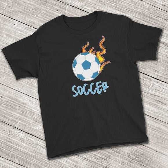 Soccer Ball Flaming Short Sleeve T-Shirt for Soccer Lovers (Youth Size) Black / XS
