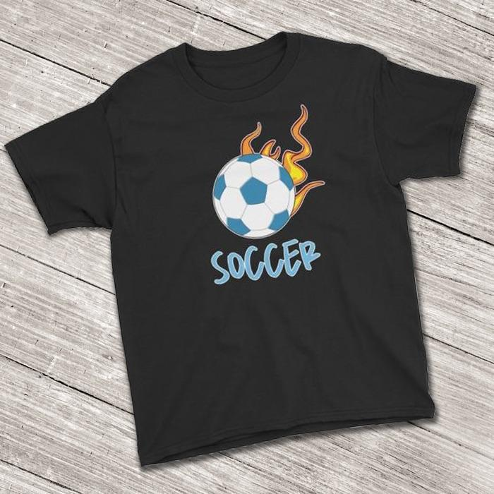 Soccer Ball Flaming Short Sleeve T-Shirt for Soccer Lovers (Youth Size)