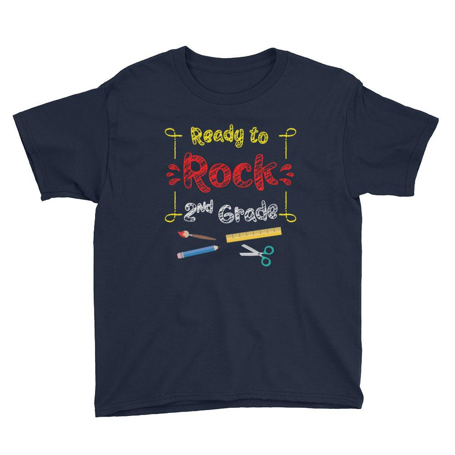 Ready to Rock 2nd Grade Short Sleeve T-Shirt for Back To School  (Youth Size)