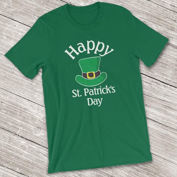 Happy St. Patrick's Day Short-Sleeve Shirt for Men & Women (Adult) Kelly / S