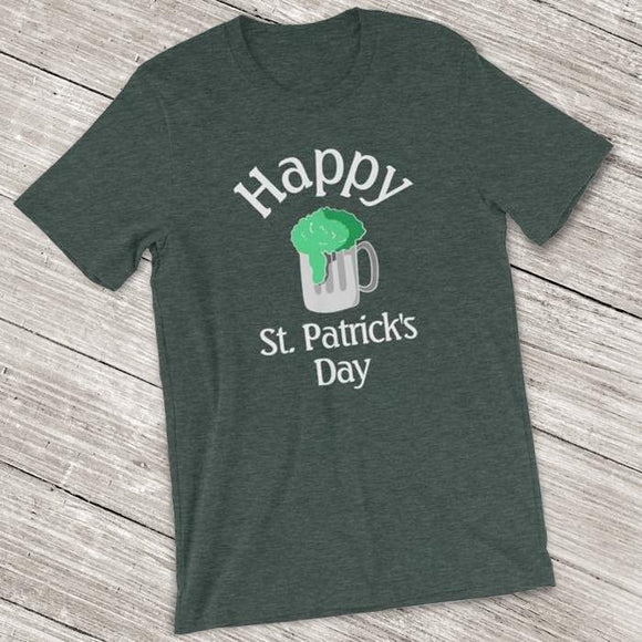 St. Patrick's Day Short-Sleeve Shirt for Men & Women (Adult) Heather Forest / S