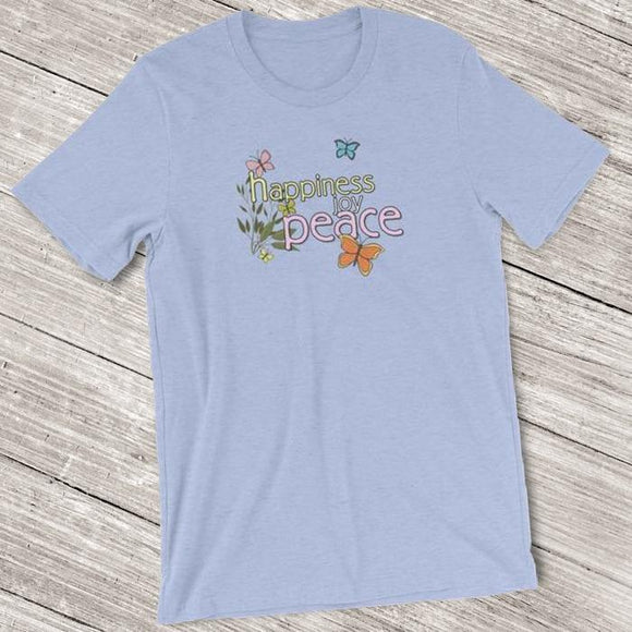 Happiness Joy Peace Butterfly Shirt for Women - Short-Sleeve (Adult)