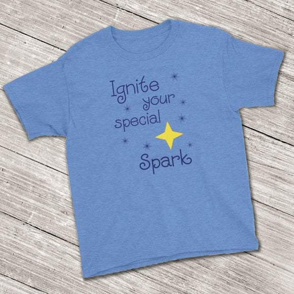 Ignite Your Special Spark Inspirational Short Sleeve T-Shirt (Youth Size) Heather Royal / XS