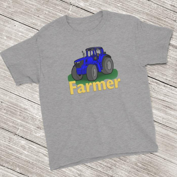 Farmer Tractor Short Sleeve T-Shirt (Youth Size) Heather Grey / XS