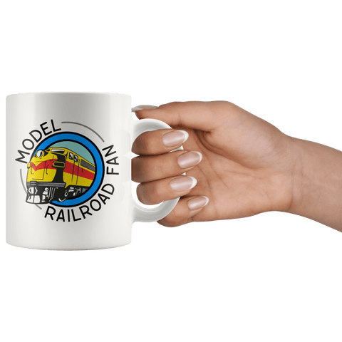 Model Railroad Fan Mug in hand