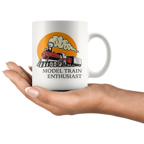 Model Train Enthusiast Mug in hand