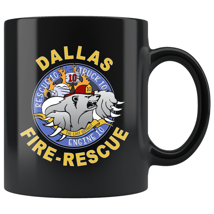 Dallas Fire Station 10 Black Mug ~ 11 oz.