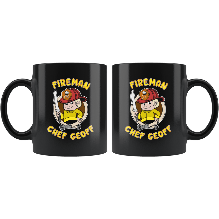 Fireman Chef Geoff Official Black Fan Mug - 11oz