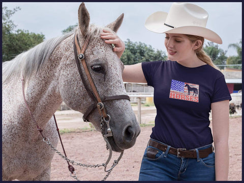 Girl in Navy Shirt with Horse