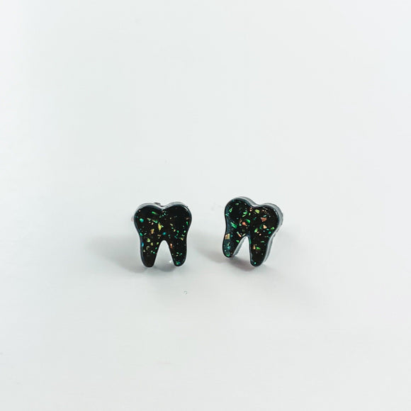 Midnight Black Opal Earrings