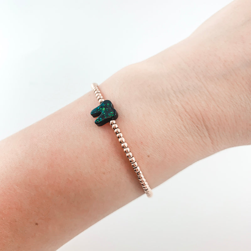Midnight Black Rose Gold Opal Bracelet