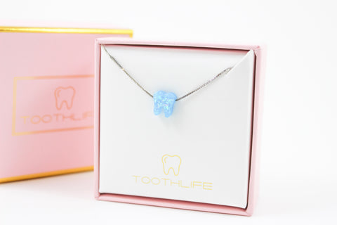 Azure Blue Silver Opal Necklace - Toothlife