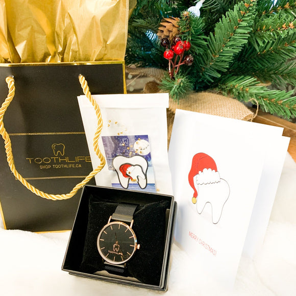 Holiday Combo (3 Holiday Cards, Santa Tooth Pin and Watch)