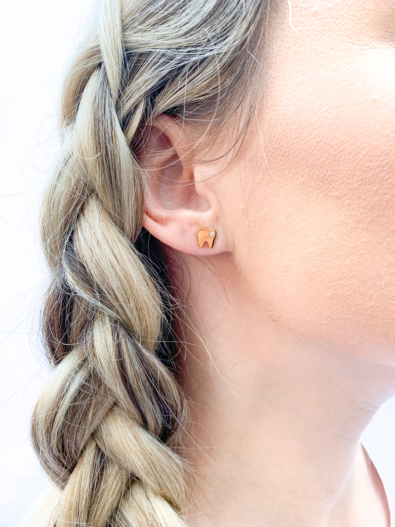 Tiny Gold Tooth Earrings