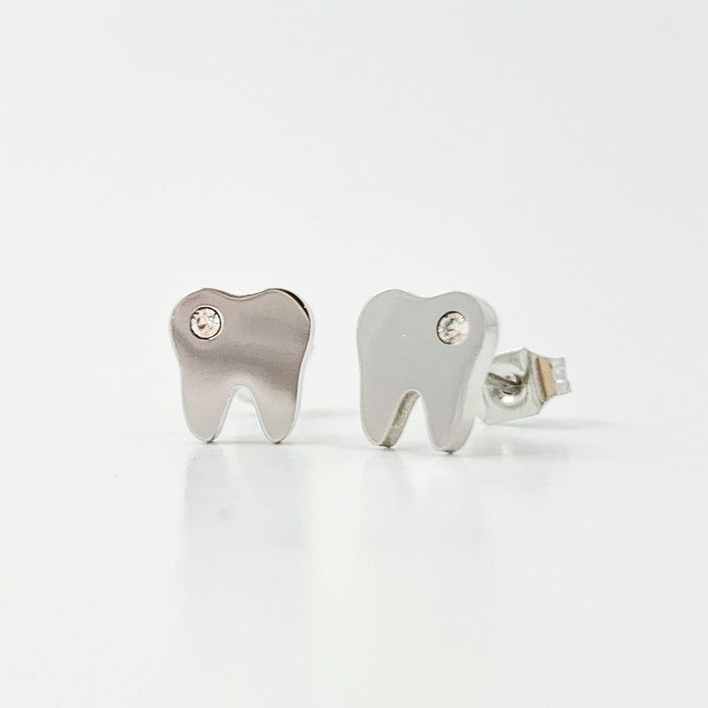 Tiny Silver Tooth Earrings