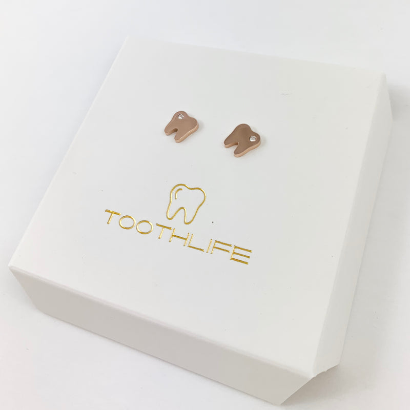 Tiny Rose Gold Tooth Earrings