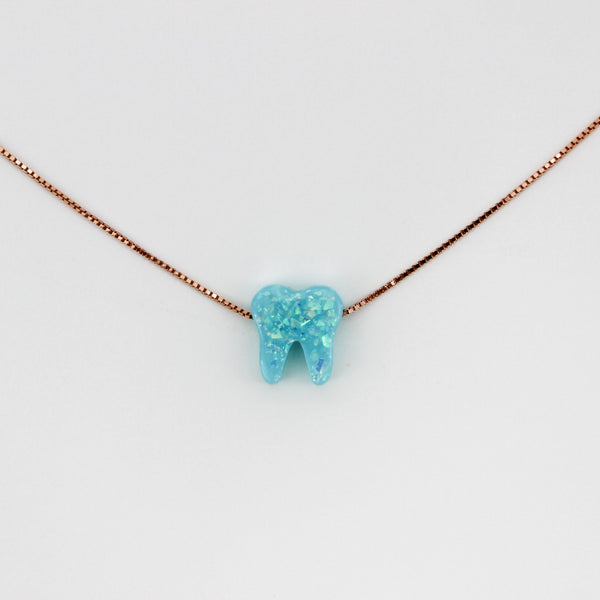 Ocean Light Blue Rose Gold Opal Necklace