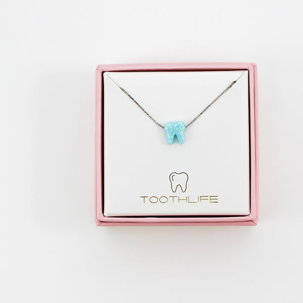 Ocean Light Blue Silver Opal Necklace