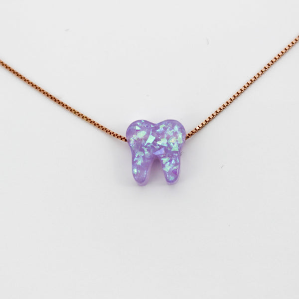 Lilac Rose Gold Opal Necklace