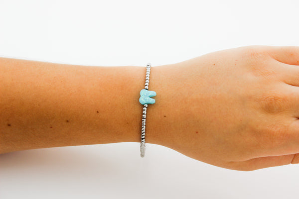 Ocean Light Blue Silver Opal Bracelet