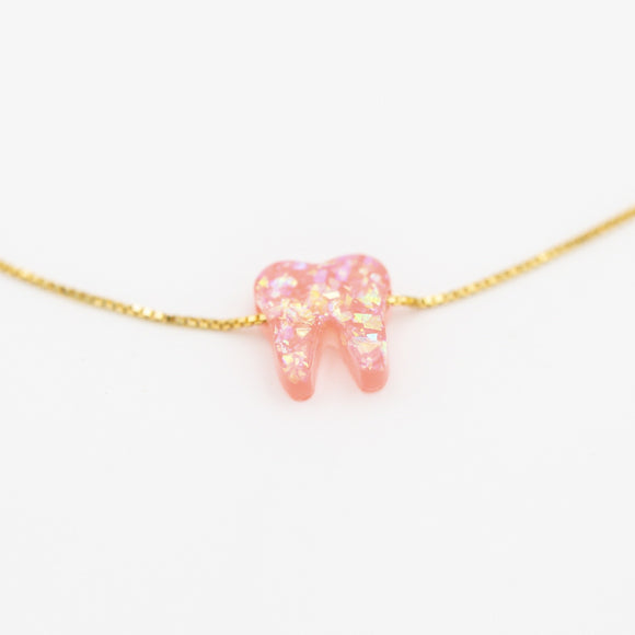 Royal Pink Gold Opal Necklace - Toothlife