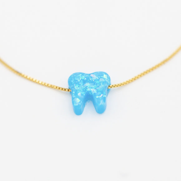Azure Blue Gold Opal Necklace - Toothlife