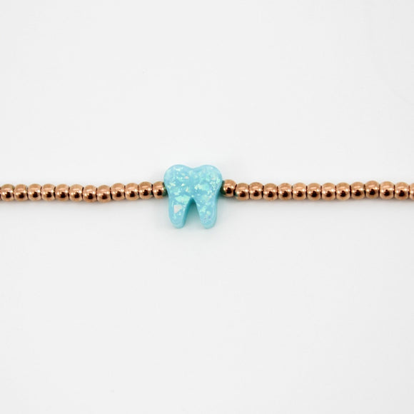 Ocean Light Blue Rose Gold Opal Bracelet