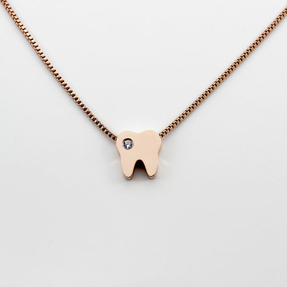 Twinkle Tooth Rose Gold Necklace