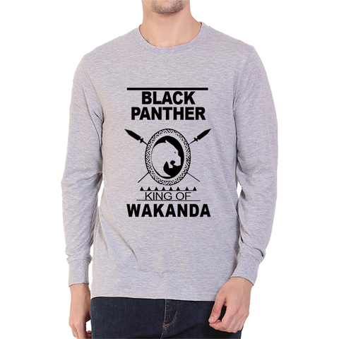 Black Panther King Of Wakanda Full Sleeve Grey