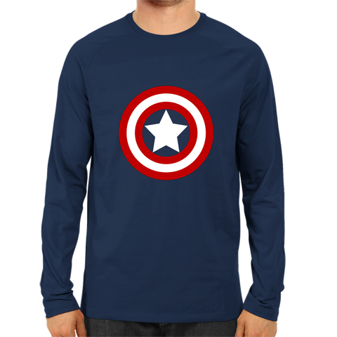 Captain America logo Full Sleeve Navy Blue