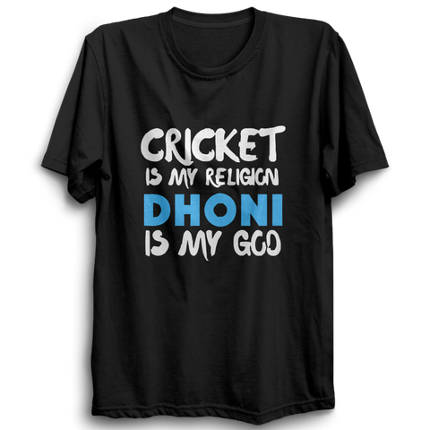 CRIC 41 - Cricket Is My Religion Dhoni -Half Sleeve-Black