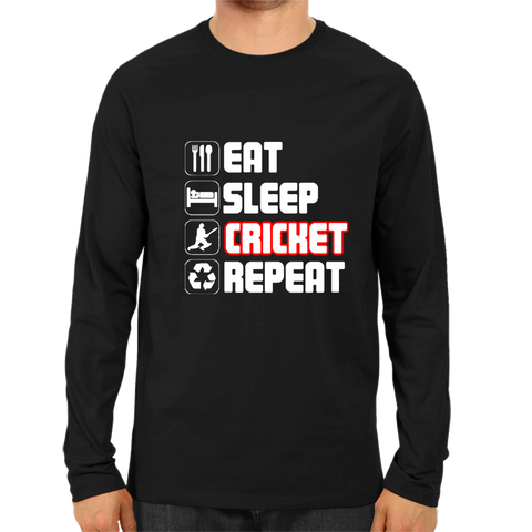 CRIC 39- Eat Sleep Cricket Repeat 2-Full Sleeve-Black