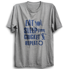 CRIC 38 - Eat Sleep Cricket Repeat -Half Sleeve-Grey