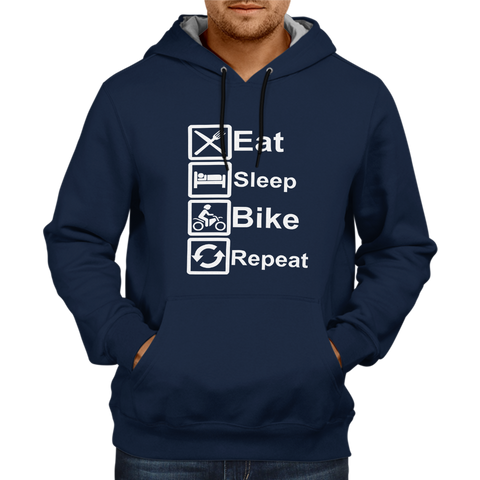 Eat Sleep Bike Repeat - Navy Blue Hoodie