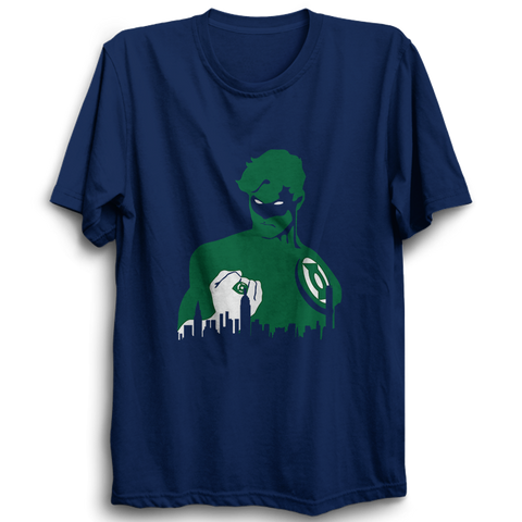 Green Lantern Face Half Sleeve Navy Blue