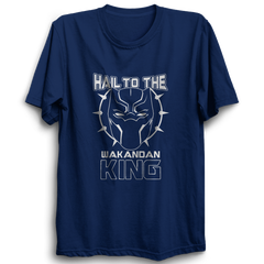 Hail To The Wakandan King Half Sleeve Navy Blue